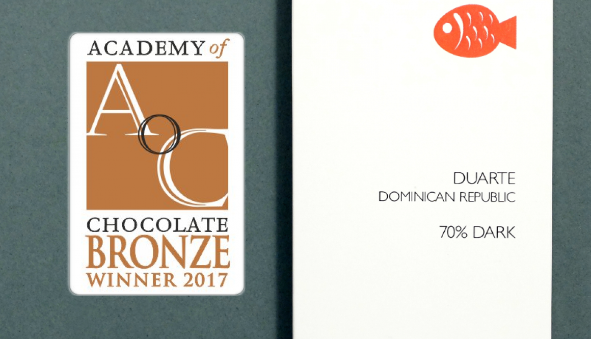 Duarte, DR 70% Wins Academy of Chocolate 2017 Bronze!