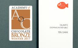Duarte, DR 70% Wins Academy of Chocolate 2017 Bronze!