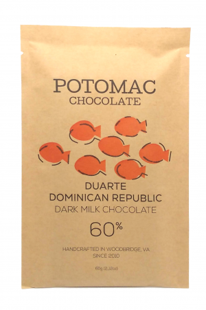 Potomac Chocolate - Duarte Dominican Republic 60% Dark Milk Chocolate Bar